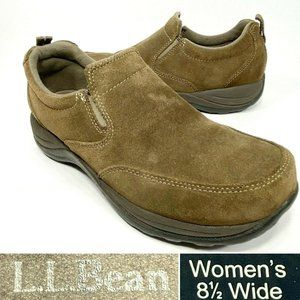 LL Bean Comfort Moc Womens Size 8.5 Wide Brown Suede Slip On Walking Shoes